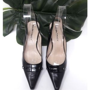 Ellen Tracy Black Leather Slingback Pumps